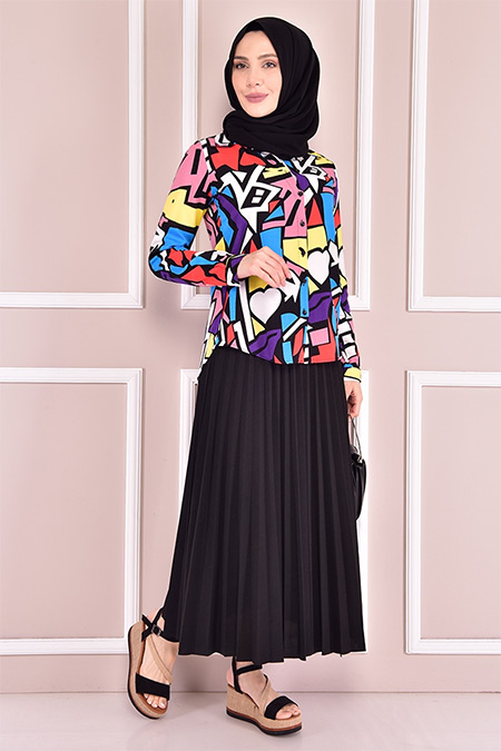 Modamerve Siyah Desenli Gömlek