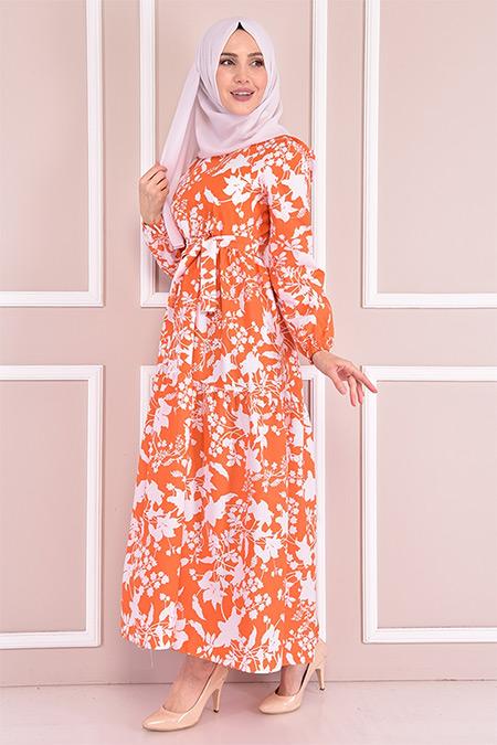 Modamerve Turuncu Desenli Elbise