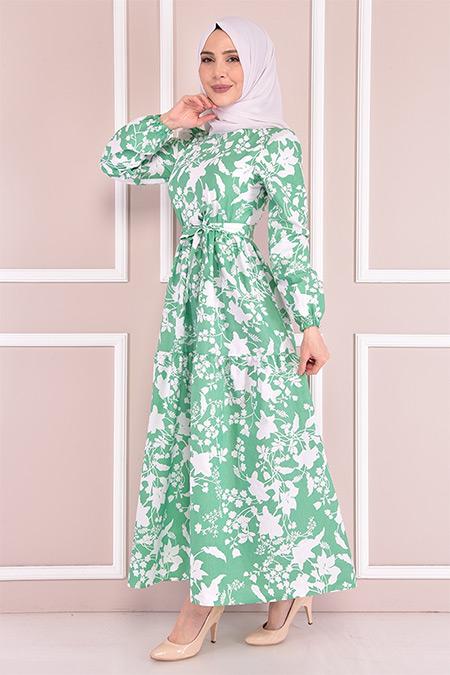Modamerve Yeşil Desenli Elbise