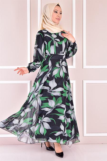 Modamerve Yeşil Kolyeli Şifon Elbise