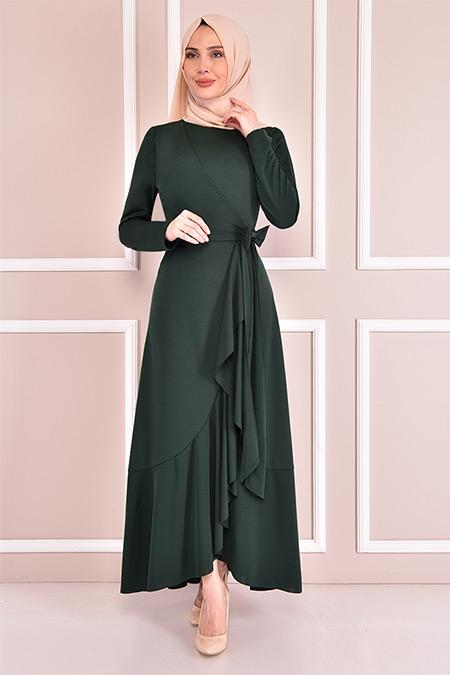 Modamerve Zümrüt Kuşaklı Elbise