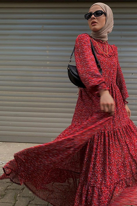 Nacchos Kırmızı Manşet Detaylı Şifon Elbise