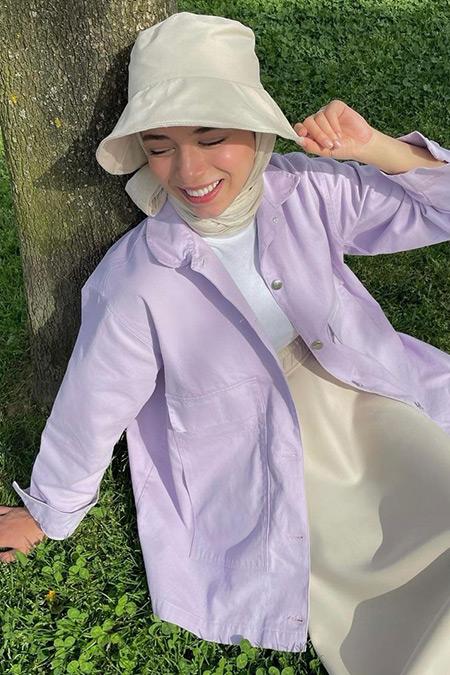 Nacchos Lila Büyük Cep Detaylı Oversize Ceket