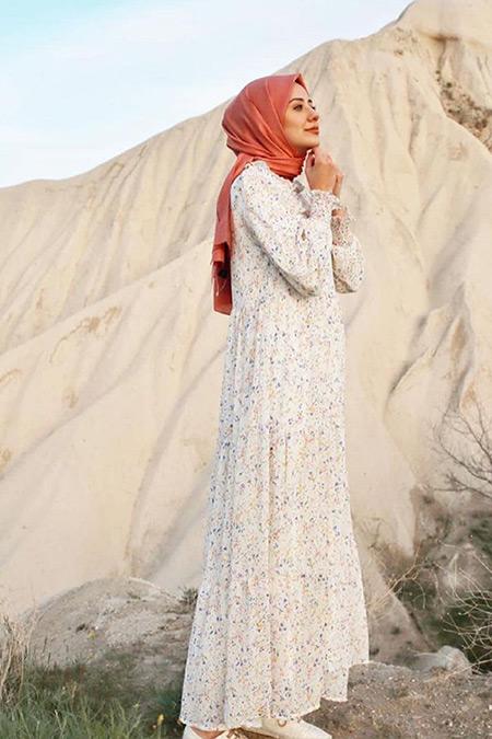 Nacchos Manşet Detaylı Şifon Elbise