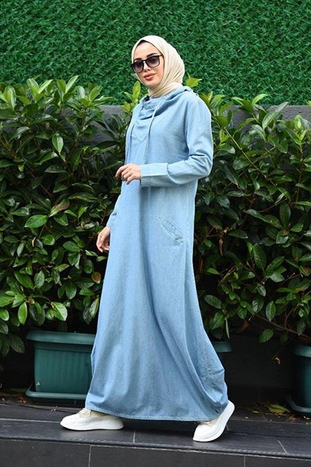 Neways Açık Mavi Kapüşonlu Elbise