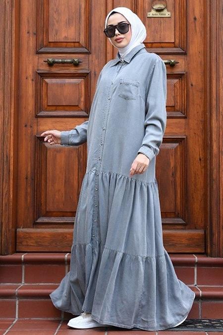 Neways Gri Düğmeli Büzgülü Elbise