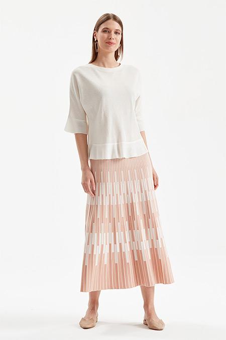 On Fashion Pudra Pembe İki Renkli Çubuklu Etek