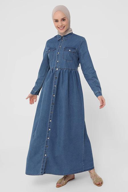 Refka İndigo Gömlek Yakalı Cep Detaylı Kot Elbise