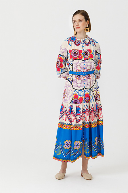 Seçil Ekru Etnik Desenli Maxi Elbise