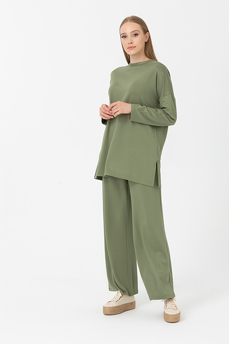 Seçil Haki Basic Tunik Pantolon Takım