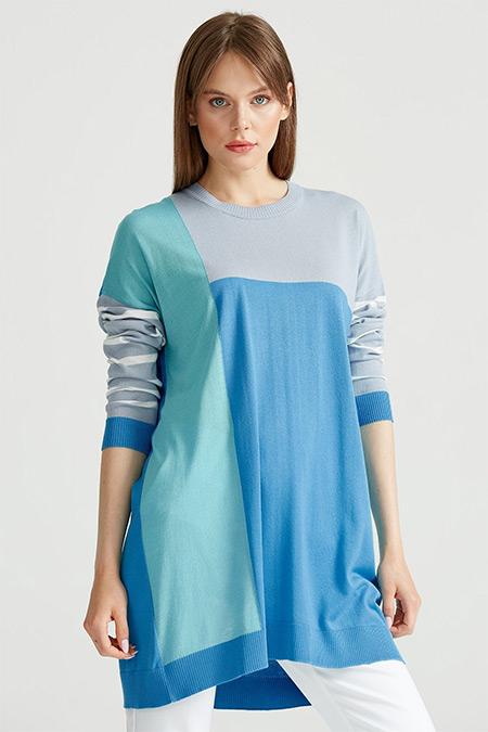 Tığ Triko Mavi Colorblock Çizgili Triko Tunik