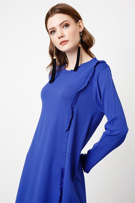 Tığ Triko Mavi Fırfır Detaylı Rayon Elbise