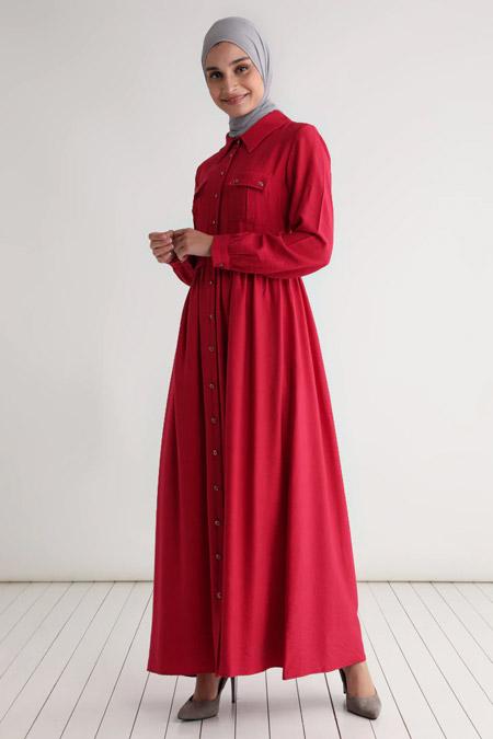 Tavin Bordo Boydan Düğmeli Cep Detaylı Elbise
