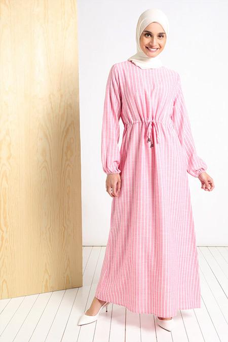 Tavin Gül Kurusu Pamuk Keten Beli Bağcıklı Çizgili Elbise