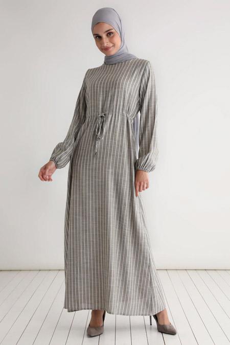 Tavin Haki Pamuk Keten Beli Bağcıklı Çizgili Elbise
