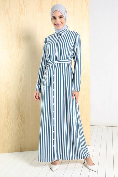 Tavin Petrol Doğal Kumaşlı Boydan Düğmeli Elbise