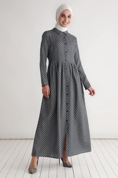 Tavin Siyah Kuşak Detaylı Desenli Elbise