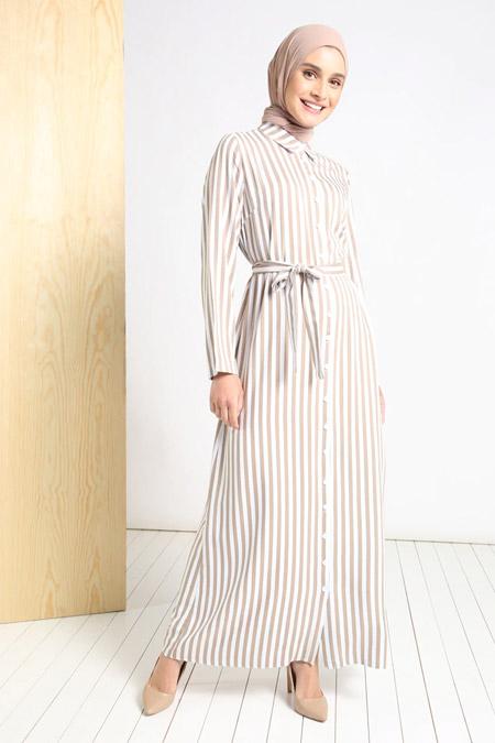 Tavin Vizon Doğal Kumaşlı Boydan Düğmeli Elbise