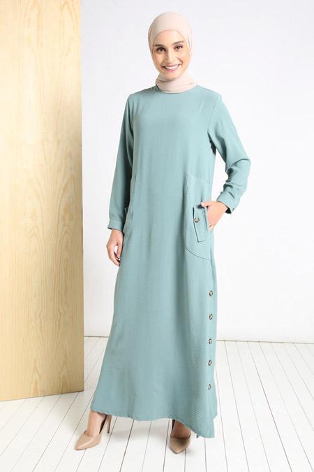 Tavin Yeşil Doğal Kumaşlı Yanları Düğmeli Elbise