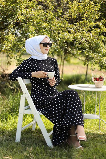 Tofisa Siyah Puantiyeli Elbise