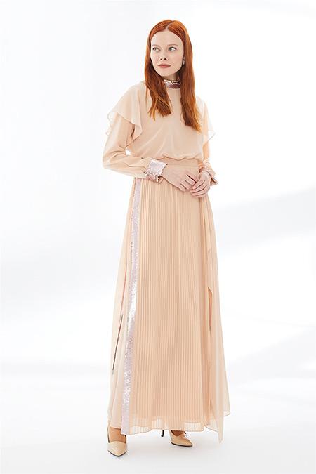 Zühre Pudra Pul Payet Detaylı Uzun Elbise