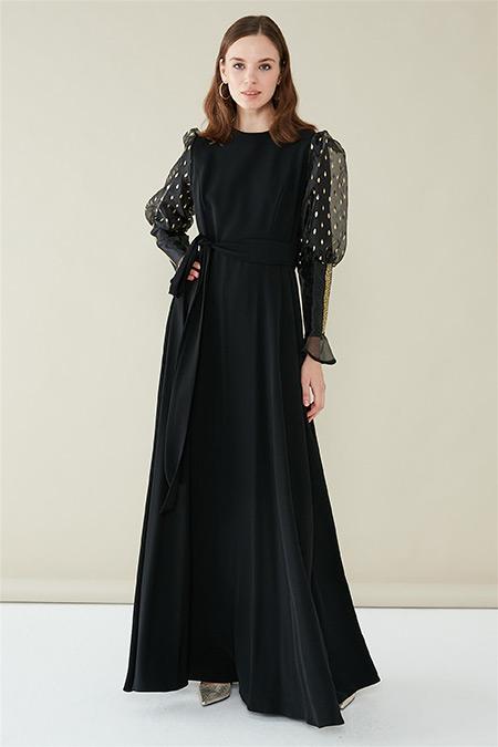Zühre Siyah Gold Taş Yapıştırma Detaylı Elbise