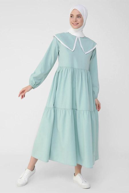 Benin Çağla Yakası Brode Poplin Elbise