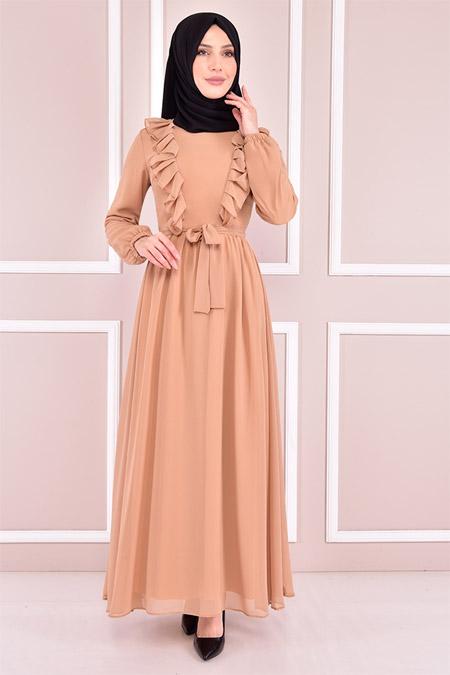 Modamerve Bej Şifon Elbise