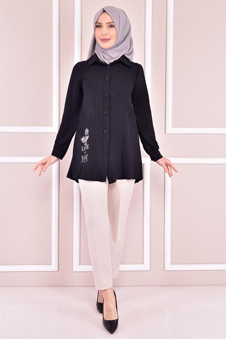 Modamerve Siyah Düğmeli Tunik