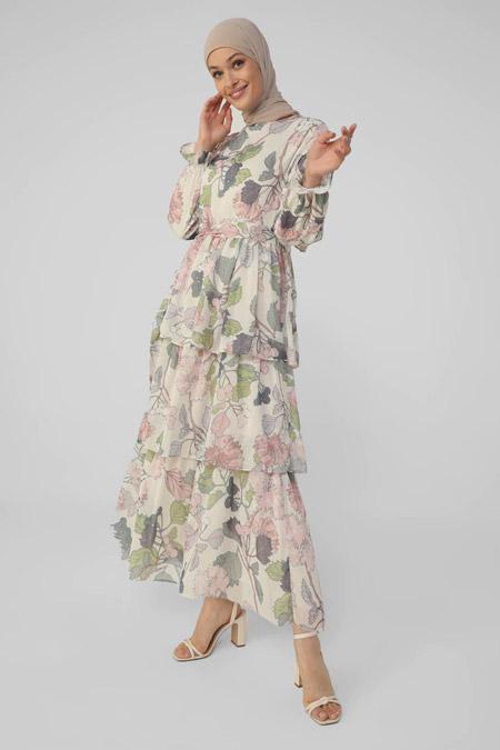 Refka Beyaz Pembe Çiçekli Şifon Kat Kat Çiçekli Elbise