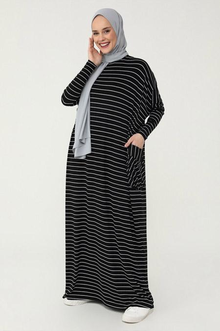 Refka Siyah Cep Detaylı Çizgili Doğal Kumaşlı Rahat Kesim Elbise