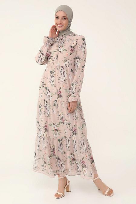 Refka Pudra Çiçekli Yakası Bağlamalı Şifon Rahat Kesim Elbise