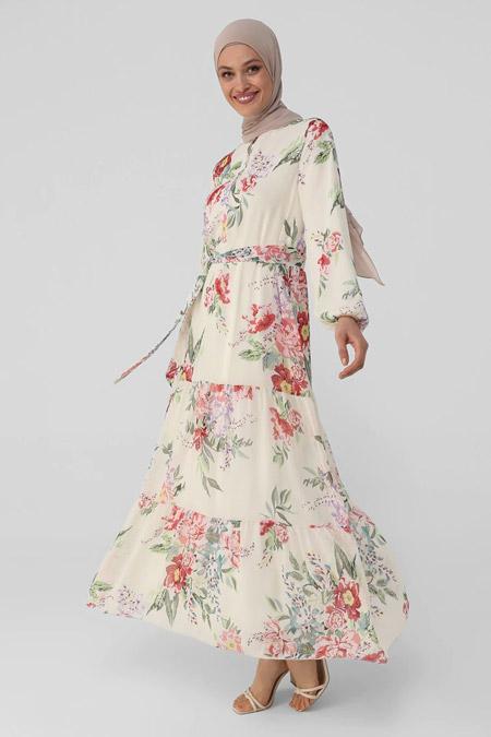 Refka Pembe Yarım Patlı Çiçekli Şifon Elbise