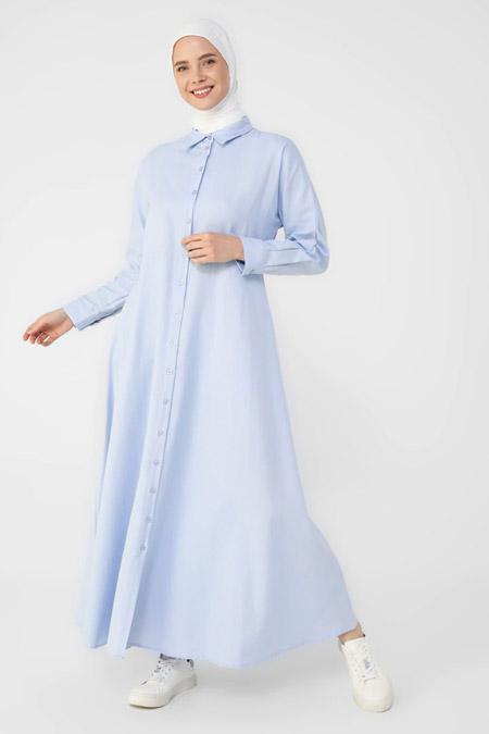 Refka Açık Mavi Oxford Kumaştan Boydan Düğmeli Elbise