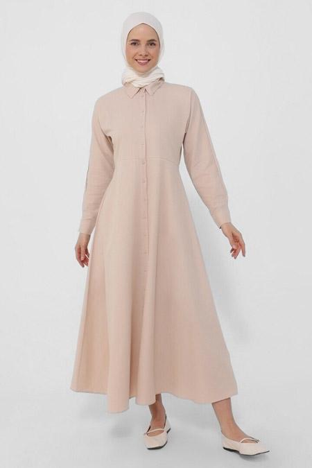 Refka Badem Oxford Kumaştan Boydan Düğmeli Elbise