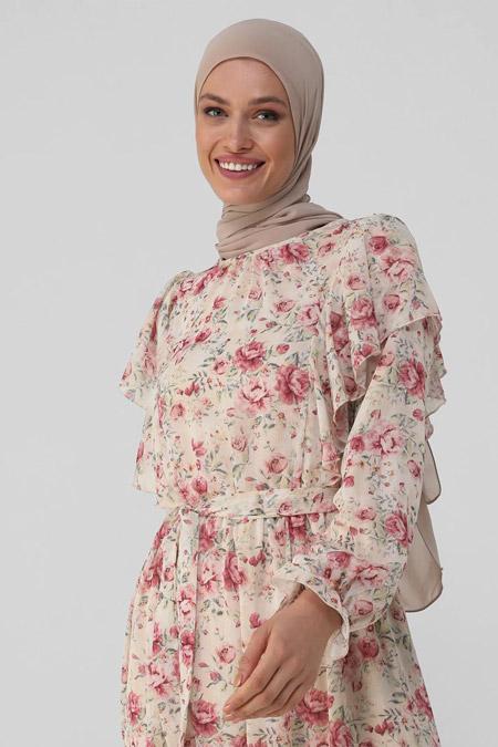 Refka Pembe Çiçekli Volan Detaylı Çiçekli Şifon Elbise