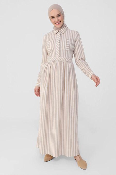 Refka Kum Beji Yarım Patlı Çizgili Doğal Kumaşlı Elbise