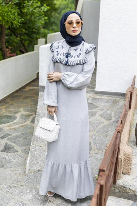 Refka Lacivert Nakış ve Fırfır Detaylı Çizgili Elbise