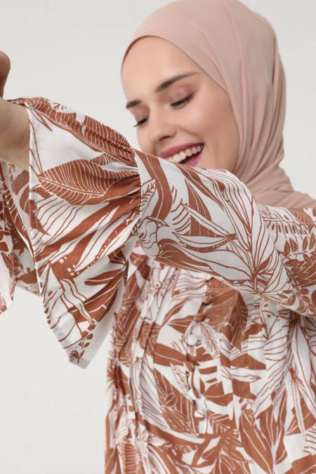 Refka Açık Bakır Nervür Detaylı Kolu Volanlı Yaprak Desenli Elbise