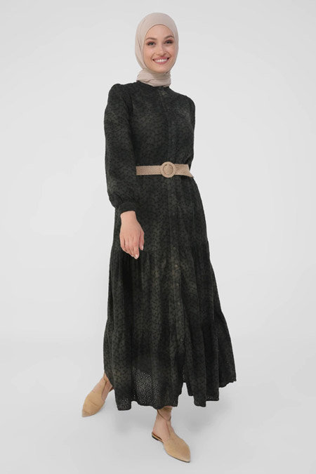Refka Natural Siyah Hasır Kemer Detaylı Batik Fisto Elbise