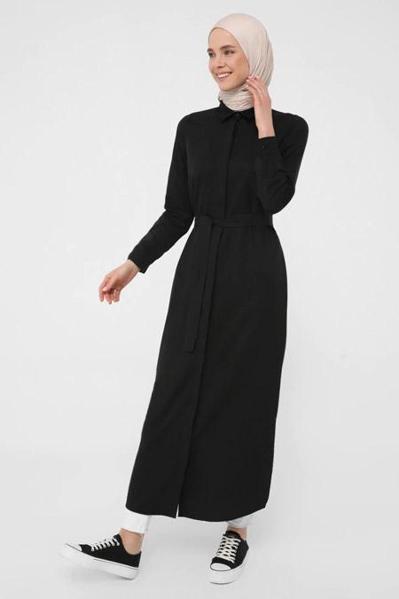 Refka Siyah Oxford Kumaştan Gizli Düğmeli Uzun Gömlek Elbise