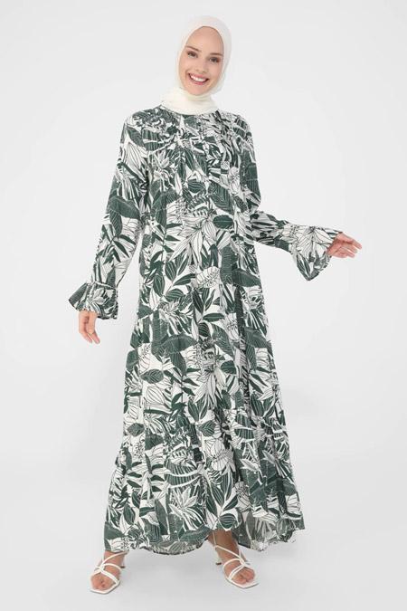 Refka Tropik Yeşil Nervür Detaylı Kolu Volanlı Yaprak Desenli Elbise