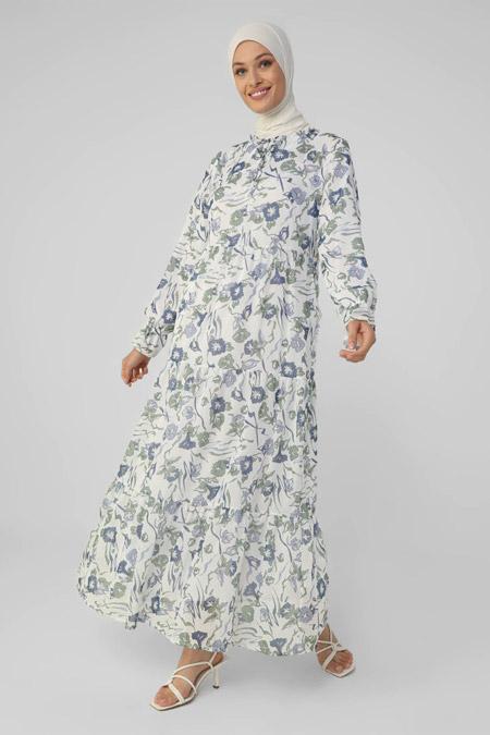 Refka Beyaz Yeşil Çiçekli Yakası Bağlamalı Rahat Kesim Şifon Elbise