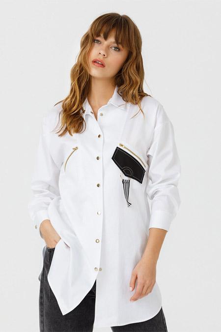 Seçil Beyaz Parçalı Fermuarlı Tunik