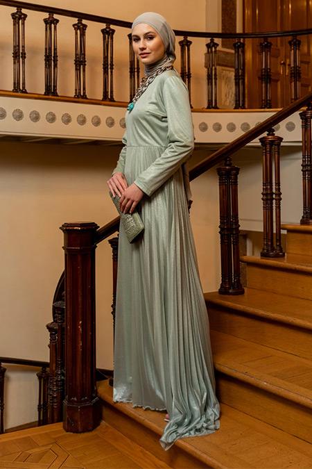 Özlem Süer X Refka Su Yeşili Tüllü Sim Detaylı Abiye Elbise