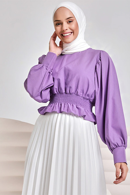 İnşirah Lila Beli Gipeli Bluz