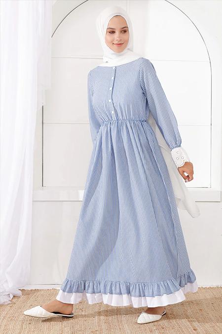 İnşirah Mavi Çizgili Desenli Elbise