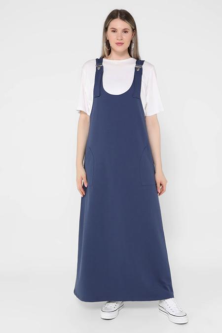 Alia İndigo Büyük Beden Askılı Spor Salopet Elbise