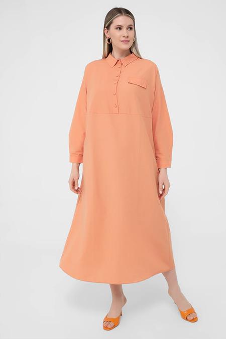 Alia Şeftali Büyük Beden Cep Detaylı Elbise