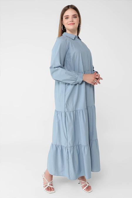 Alia Buzul Mavi Yakası Gizli Düğmeli Büyük Beden Elbise